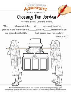 Crossing the Jordan. Printable paper. Write the names of