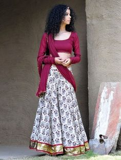 Maroon-Beige Natural Dyed Hand Block Printed Gota Embellished Cotton Lehenga-Choli & Dupatta Set of 3