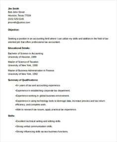 Accounting Resume Objective 13 Terrific