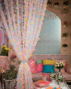 From soft pastels to vibrant yellows, pinks and more, we are totally taken by these uber cool mehendi decor ideas that's been trending this… Mehendi Decor Ideas, Mehndi Decor, Pastel Decor, Indian Home Decor, Diy Home Crafts, Wood Crafts, Home Decor Furniture, Pastel Furniture, Driftwood Furniture