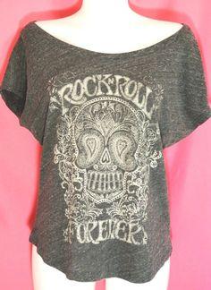 L~Sugar Skull print Gray Tee Top~Marilyn~Rock N Roll~Retro~Rockabilly~Punk~Goth #unknown #PrintTeeTop #Casual