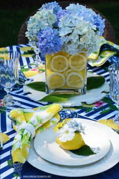 Home is Where the Boat Is Lemons and Hydrangeas Alfresco Summer Tablescape Table Arrangements, Table Centerpieces, Flower Arrangements, Centerpiece Wedding, Summer Table Decorations, Decoration Table, Lemon Party, Lemon Kitchen, Boho Home