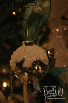 Love the frosted globe, must do this and put some of my little bitty bitty pine cones on top!!!