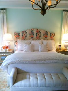 Master Bedroom - view of headboard Preppy Bedroom, Feminine Bedroom, Neutral Bedding, Living Styles, Beautiful Interiors, Interior Inspiration, Guest Room, Master Bedroom, Decorating Ideas