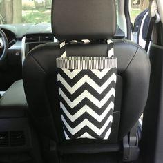 Car Trash Bag CHEVRON BLACK/White Women Car Litter by GreenGoose, $26.00
