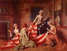 Betsy Ross became famous for sewing together the first American flag in Philadelphia