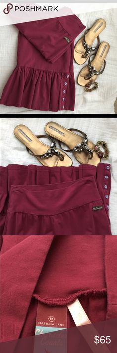 Matilda Jane Pants These are amazingly comfortable! Size Medium. Burgundy in color.  Stretch. So cute.  No stains or holes. Great pre-owned condition.  See photos for measurements on inseam length. Matilda Jane Pants Boot Cut & Flare