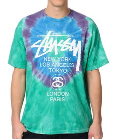 If you're ready for spring break to arrive, be sure your clothing shows it with the white circles tie dye t-shirt from Stussy. This guys short sleeve standard fit crew neck t-shirt features a blue, purple and green tie dye colorway meant to help spread th