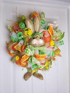 Deco Mesh Orange/Green Easter Bunny Wreath by WreathsbyCrazyLady on Etsy