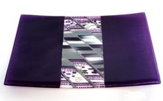 fused glass plate purple white grey diagonal strip cut contruction