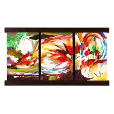 Brilliant Triptych. Three is better than one with the vivid Bent Colors mixed media painting. Truly abstract, this triple-panel work is broken into thirds by its rich, dark wood frame. Active brush strokes on this hand-painted, dimensional artwork showcases every color in the spectrum, creating a bold, organic scene and drawing the viewer in with its bright display.