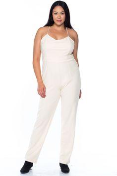b632acf0852 Ladies fashion plus size ivory thin straps v neck x cross back zipper  jumpsuit