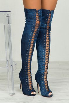 Tanya Lace Up Boot (Denim Wash)