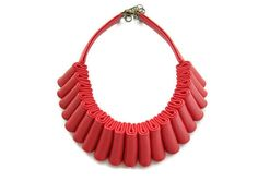Hey, I found this really awesome Etsy listing at https://www.etsy.com/listing/163677299/red-leather-statement-necklace-leather
