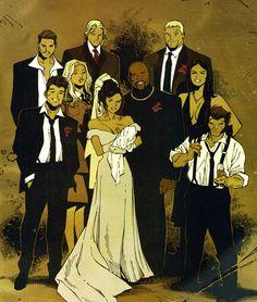 Jessica and Luke's wedding photo. New Avengers Annualv1 #1. Art by Olivier Coipel.