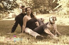 Couple with their dog. Outdoors photo idea