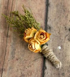 Rustic Wedding Paper Rose Boutonniere by Roses and Lemons on Scoutmob Shoppe