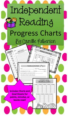 Motivate your students to read independently.  The Independent Reading Progress Charts will help students set personal reading goals and then track their progress to help them achieve it.  Track points earned, minutes read, or books read.  Goals can be set for any length of time. $