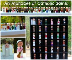Aren't these the most darling creations? Make 2-3 per month, have fun with the process, and have them all done in one year! Shower of Roses: An Alphabet of Saints :: Painted Wooden Peg Dolls