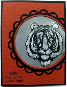 Vellum Dimension Technique...  Karen Hasheck created this dramatic, dimensional tiger card for us and shares her technique on our blog. Rubber stamps by Repeat Impressions. - www.repeatimpressions.com - #repeatimpressions #rubberstamps #rubberstamping #cardmaking