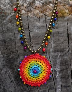 RAINBOW GIPSY MANDALA crochet necklace boho by PanoParaTanto