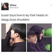 THIS IS ADORABLE THANK YOU PERSON. Yoonmin and Taekoo But I also like both Busan boys together....Jikook has some feels
