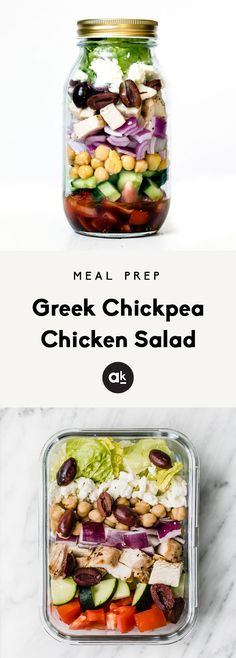 Healthy Greek Chickpea Chicken Salad loaded with chickpeas, grilled chicken, feta, kalamata olives, red onion, tomato and a homemade light greek dressing. Toss this simple greek salad together in a bowl, layer in a mason jar or put in meal prep containers for the week!