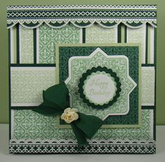 card using Fleur de Lis BG, Always & Forever, Classic Scallop Borders, and Lace Borders designed by Angela Barkhouse