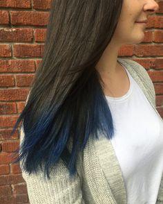 Blue Brown Hair, Brown Blonde Hair, Hair Color Blue, Light Brown Hair, Brown Hair Colors, Dark Hair, Dark Brown, Blue Colors, Dip Dye Hair Brunette