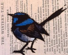 Australian Blue Wren by Trees4thewood on Etsy. Love the use of a lino print on an unusual choice of paper.
