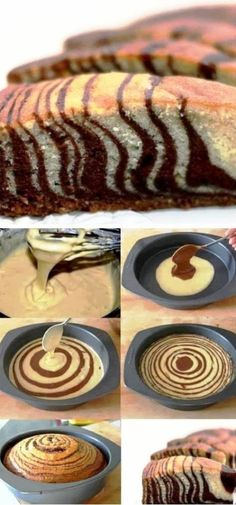 Chocolate and Vanilla Zebra Cake Sweet Recipes, Cake Recipes, Dessert Recipes, Dessert Original, Delicious Desserts, Yummy Food, Pan Dulce, Let Them Eat Cake, Cupcake Cakes