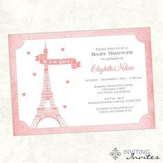 Paris Baby Shower Shower Invitation Printable by InvitingInvites. , via Etsy.