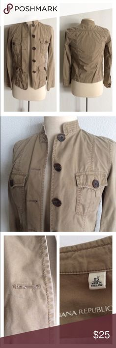 """Banana Republic jacket Banana Republic jacket. Size XS. Measures 24"""" long with a 32"""" bust. 100% cotton. Four functional front pockets. This has some distress to it, but what I can find from my research of this jacket, it appears to have been manufactured it that way. *There is a blue mark above the left chest. Appears to be a light pen mark. This item has been priced accordingly.   🚫NO TRADES🚫 💲Reasonable offers accepted💲 💰Great bundle discounts💰 Banana Republic Jackets & Coats"""