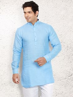 Light Blue Linen Short Pathani