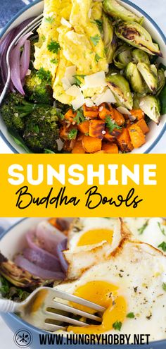 These sunshine buddha bowls featuring roasted veggies, an olive oil herb sauce, and topped with scrambled or fried eggs, make a perfect customizable and filling meal for any time of day. #ad #eggenthusiast #eggs #eggbowl