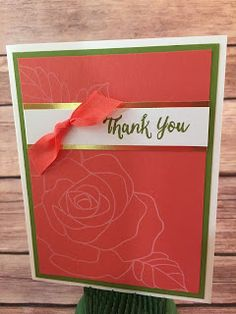 This Calypso Coral and Old Olive Thank You Card uses Stampin' Up!'s: Rose Wonder stamp set, Gold Foil Sheets, and Calypso Coral Seam Binding!  www.stampwithjennifer.blogspot.com