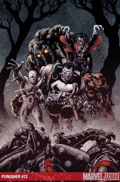 Punisher with Living Mummy, Man-Thing, Morbius & Werewolf By Night