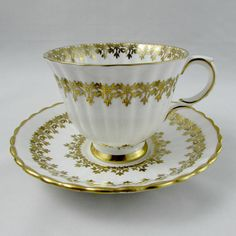Royal Stafford Gold Tea Cup and Saucer Vintage Bone China