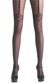 30 Chic Pairs Of Tights #refinery29 :Via Spiga Lace Garter Tights, $13.50, available at Lord and Taylor.