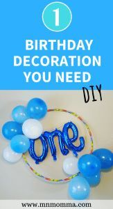 DIY birthday party decorations for kids. Easy DIY party decorations you can make from home! The one decoration you need at every party to make your party decorations stand out. This easy to follow balloon wreath is perfect for your baby's birthday party!
