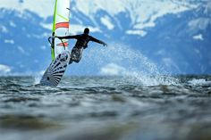Felix Kaestle / EPA Surfing on the edge of Swiss Alps A windsurfer jumps over waves in heavy winds on the Lake Constance in front of the partially snow-covered Swiss Alps, in Fischbach, Germany, Feb. Surfing Tips, Constance, Sup Surf, Water Photography, Windsurfing, Big Waves, Big Challenge, Lifeguard, Paddle Boarding