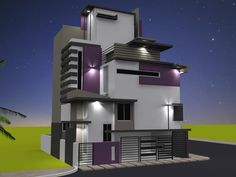 Rnganath's Residence - Another side view of Front Elevation for Independent Bungalow by Ashwin Architects in Bangalore.    Call (+91)-(80)-26612520 for more information or visit http://www.ashwinarchitects.com