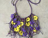 Items similar to Necklace oya crochet purple yellow on Etsy