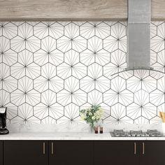 """Kitchen EliteTile Misha Hex 9 """"x Porzellan Mosaikfliesen Ceramic Mosaic Tile, Ceramic Subway Tile, Glass Subway Tile, Marble Mosaic, Mosaic Wall, Mosaic Glass, Porcelain Tile, Cement Tiles, Hex Tile"""
