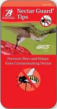 Blocks bees & wasps from hummingbird feeders