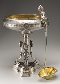 Likely by John Wendt, this magnificent sterling silver medallion centerpiece bowl and mermaid ladle belonged to Civil War General William Mahone, incorporating a badge he designed for his Confederate Civil War brigade and wore throughout the war. He used the emblem on his personal stationary, his silver, and even on his tomb in Petersburg, Virginia, not far from the site of the engagement that made him famous, the Battle of the Crater. c1870 (Heritage Auctions)