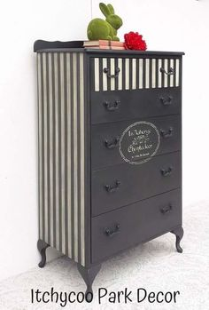 Annie Sloan Graphite Chalk Paint with Old White Stripes. French stencil, finished with black wax.