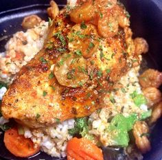 pan seared chicken breast and Shrimp, with brown rice and steamed veggies
