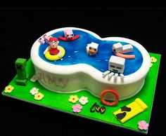Minecraft pool party cake