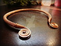 "VIKING KNIT Torc/Torque Necklace with Spirals - 16 Inch Copper Wire - Double Weave Here is an intricate and beautifully handcrafted torc (also spelled ""torque"") necklace! It was made using an 8 str..."